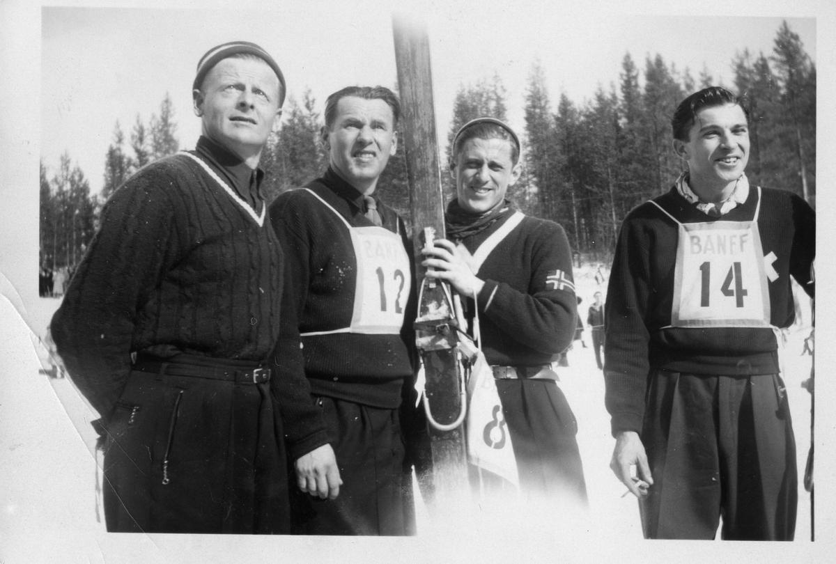 Kongsbergløpere i USA 1949: F.v. Tormod Mobråthen, Olav Ulland, Petter Hugsted, Kjell Stordalen