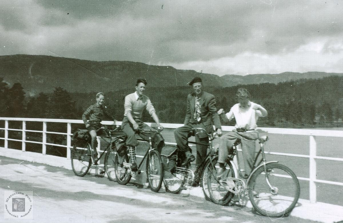 Yngres sykkeltur, her pause på Sveindalsbrua, Grindheim senere Audnedal.