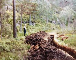 Grøfting av myr på heia Der Veste på Sveindal i Audnedal.