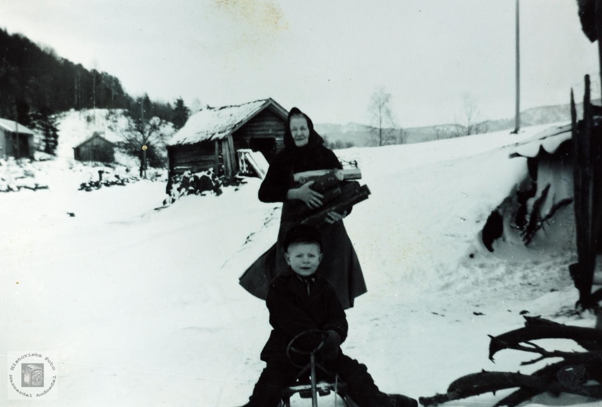 Daglegliv på Høyland i 1950 åra. Grindheim Audnedal.