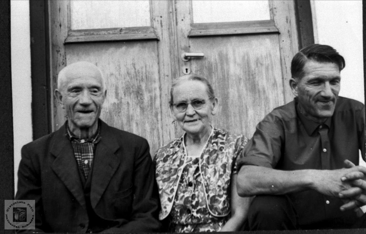 Portrett av Thore, Ingeborg og Ola Foss, Bjelland.
