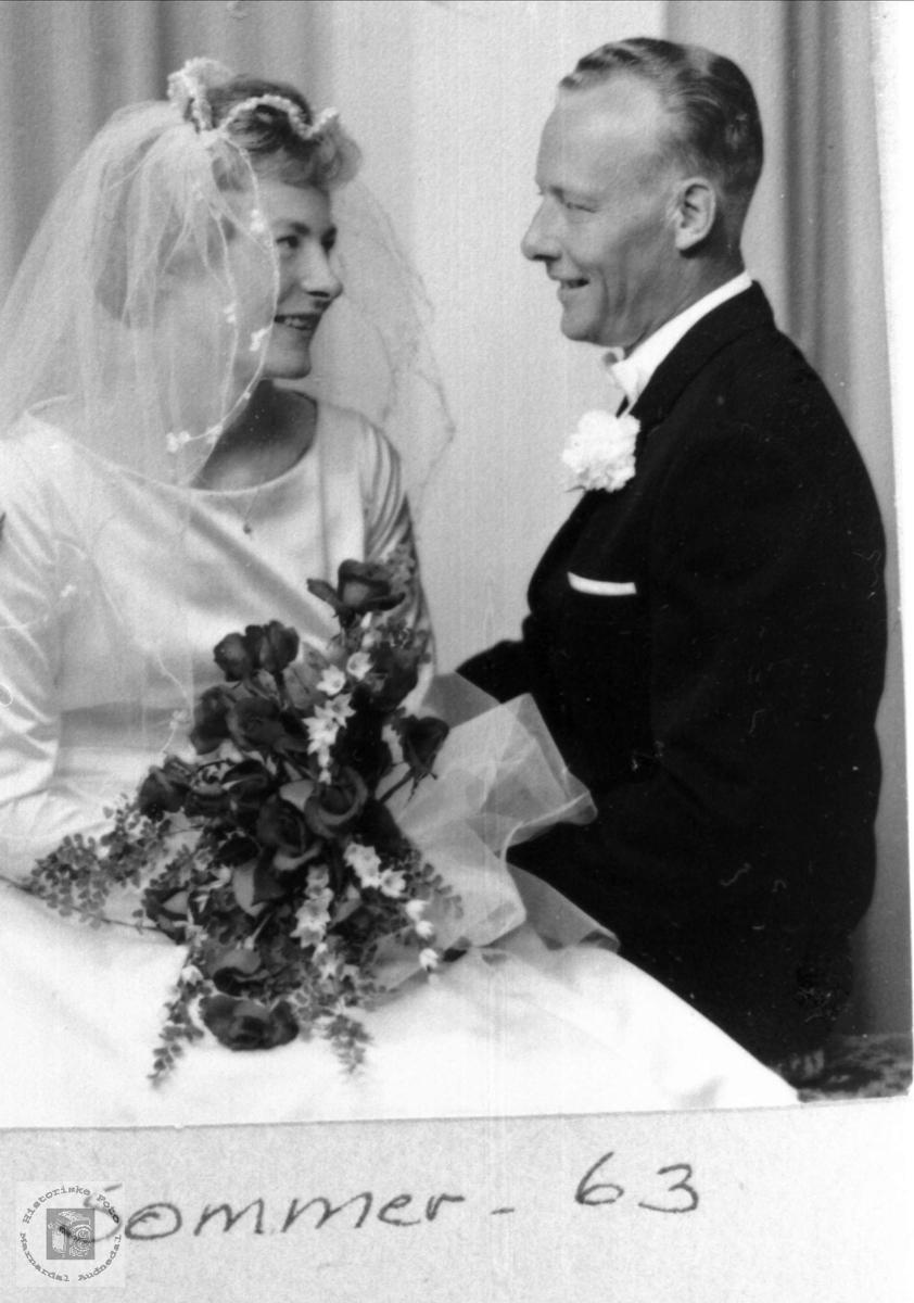 Portrett av brudeparet Elisabeth og Torkjel Håland, Grindheim.