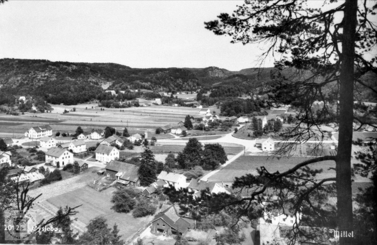 Øyslebø garden sett fra vest mot øst. Marnardal.