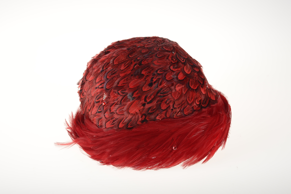 Liten pyntehatt laget av metallramme tregt med nettingstoff. På hele hatten er det festet rødefjær som antagelig er farget. Noen røde stener er festet på fjærene. Innvendig er hatten kantet med fløyelsstoff.