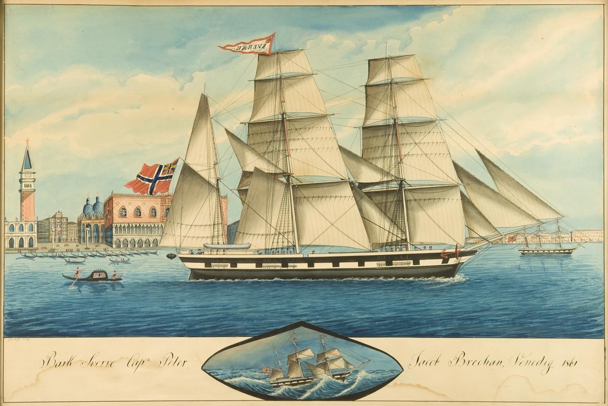 Bark 'Sverre' i Venezia Unionsflagg, navnevimpel