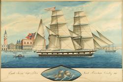 Bark Sverre Capto. Peter Jacob Brechan, Venedig 1861 [Akvare