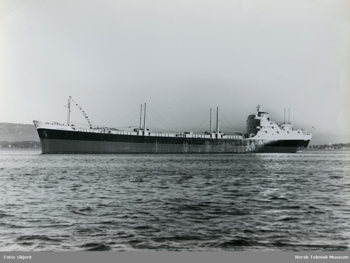Eksteriør, tørrlasteskipet M/S Pelagos, B/N 534 (Stords B/N 57) i Oslofjorden. Skipet ble levert av Akers Mek. Verksted og Stord Verft 24. november 1961 til Seaways Shipping Co.
