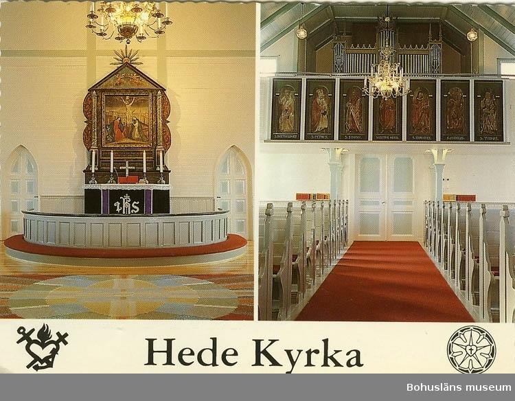 """Tryckt text på bilden: """"Hede Kyrka byggd år 1887. Altartavla från 1600-talet. Altartavlan målad av Jonas Ahlstedt. Kormattan vävd på Ateljen Tre Bäckar år 1988. Apostlabilder från 1700-talet.""""   Foto: """"Anders foto, Dingle 0524-42170."""""""
