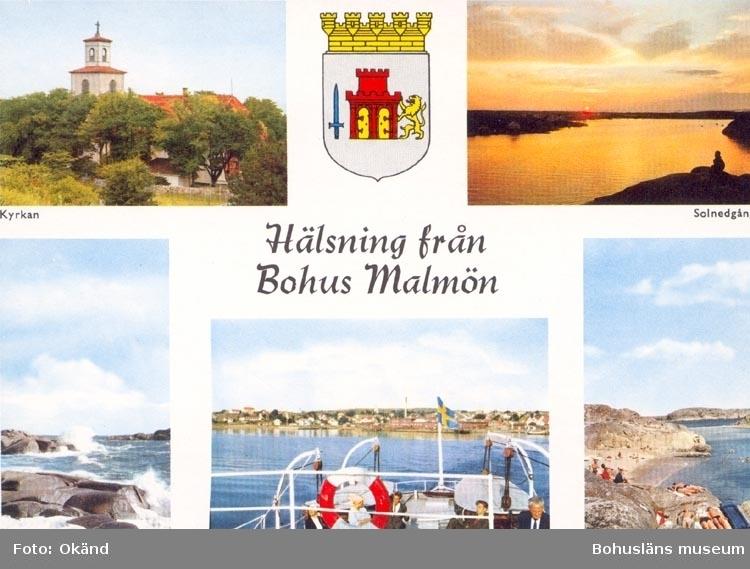 """Tryckt Text på kortet: """"Hälsning från Bohus Malmön"""". """"Kyrka Solnedgång Bränningar Badvik"""". """"ULTRAFÖRETAGET A.B.-SOLNA""""."""
