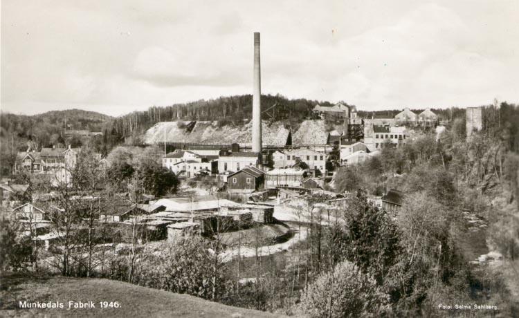 "Tryckt text på kortet: ""Munkedals Fabrik 1946"". ""Foto & Förlag: Selma Sahlberg, Munkedal""."