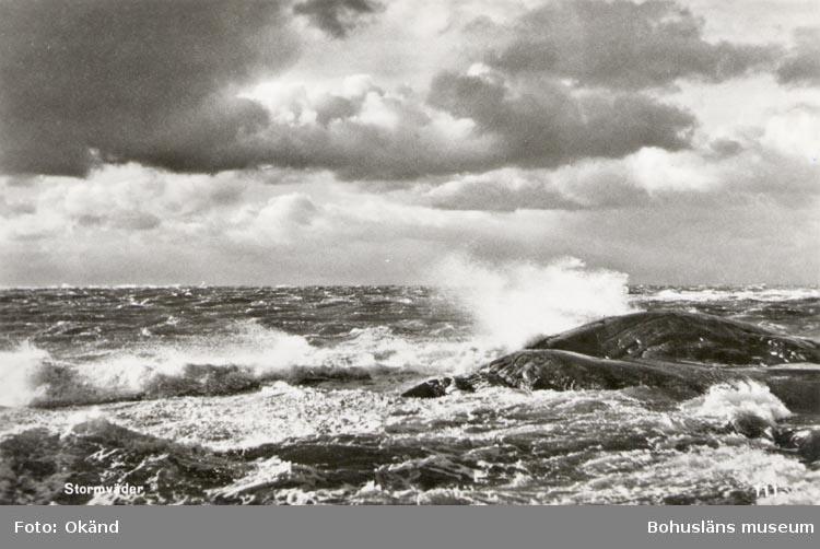 """Tryckt text på kortet: """"Stormväder"""". Noterat på kortet: """"Hjärteröfjorden """"Eggskären"""" utanför Klädesholmen"""""""
