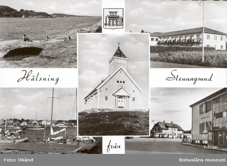 """Tryckt text på kortet: """"Hälsning från Stenungsund."""" ::"""