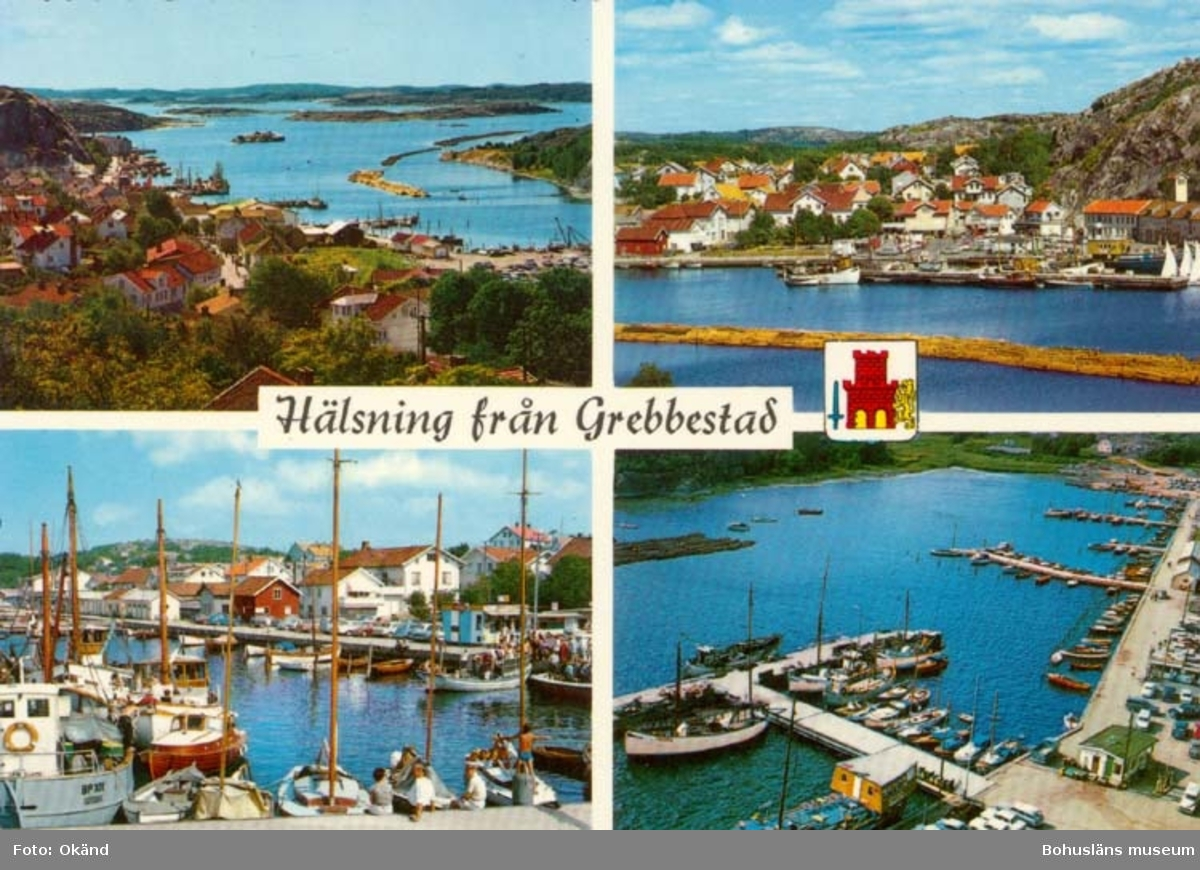 """Tryckt text på kortet: """"Hälsning från Grebbestad."""" """"Ultraförlaget A.B. Solna."""""""