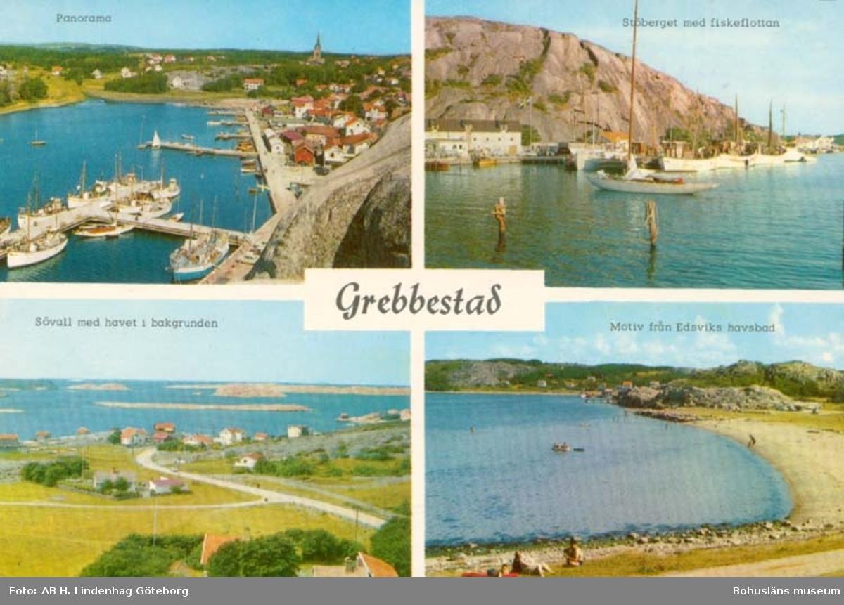 """Tryckt text på kortet: """"Grebbestad."""" """"Panorama. Stöberget med fiskeflottan. Sövall med havet i bakgrunden. Motiv från Edsviks havsbad."""""""