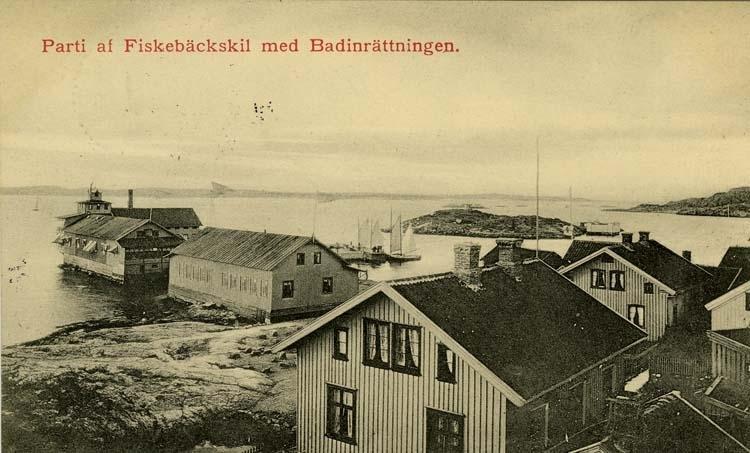 Parti af Fiskebäckskil med Badinrättningen.