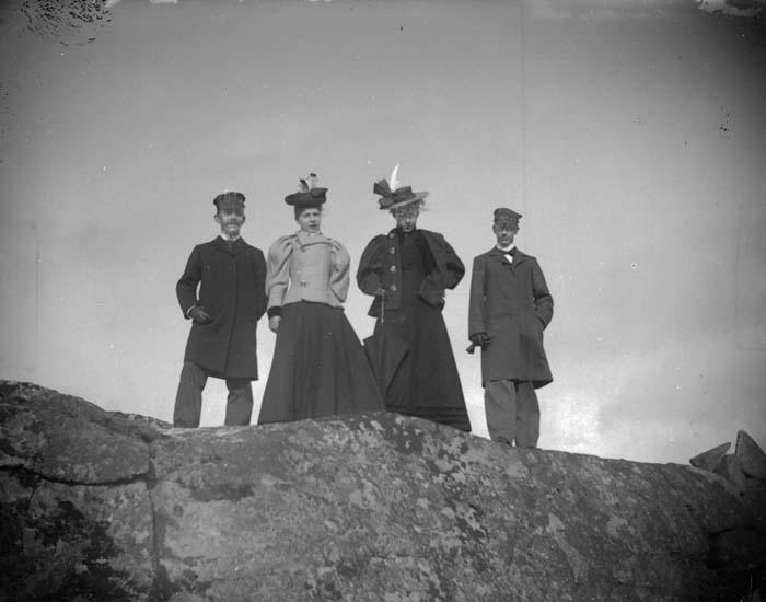 """Enligt text som medföljde bilden: """"Dalskogen. Ahlin och H. Hallgren, fröknarna Enander och Sjöstam 1897."""""""