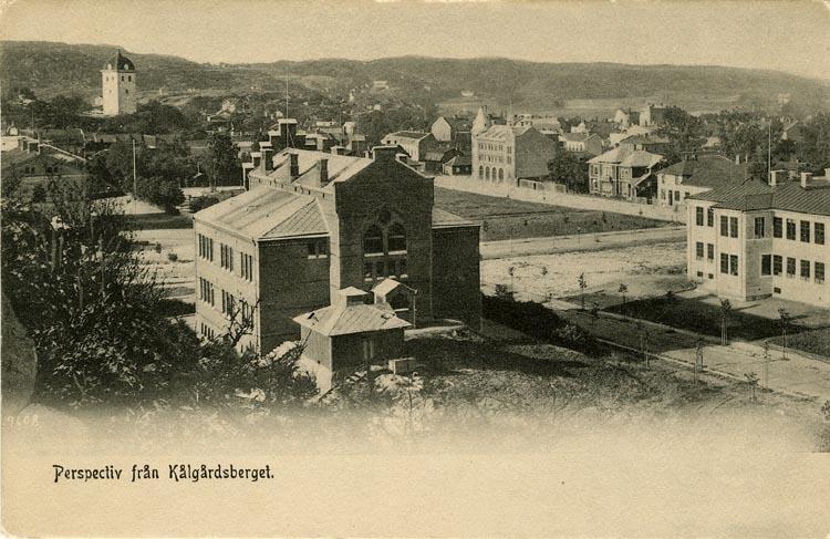 """Tryckt text på vykortets framsida: """"Perspectiv från Kålgårdsberget."""""""