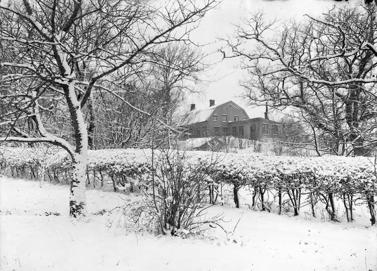 """Enligt fotografens noteringar: """"Foss prästgård från omkring från 1900 tiden. Småbild. Häcken numera afhuggen."""""""