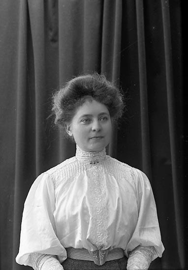 "Enligt fotografens journal nr 1 1904-1908: ""Larsson Fr. Hulda Skällerbred Ljungskile""."