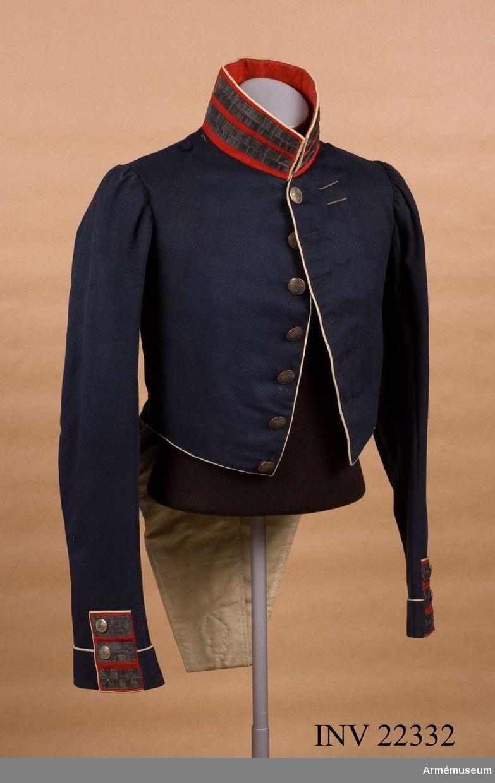 Grupp C I. Frack enligt Svenska arméns rulla 1835. Gåva av Överste G.  Nordenskjölds sterbhus Eksjö 4/6 1902.