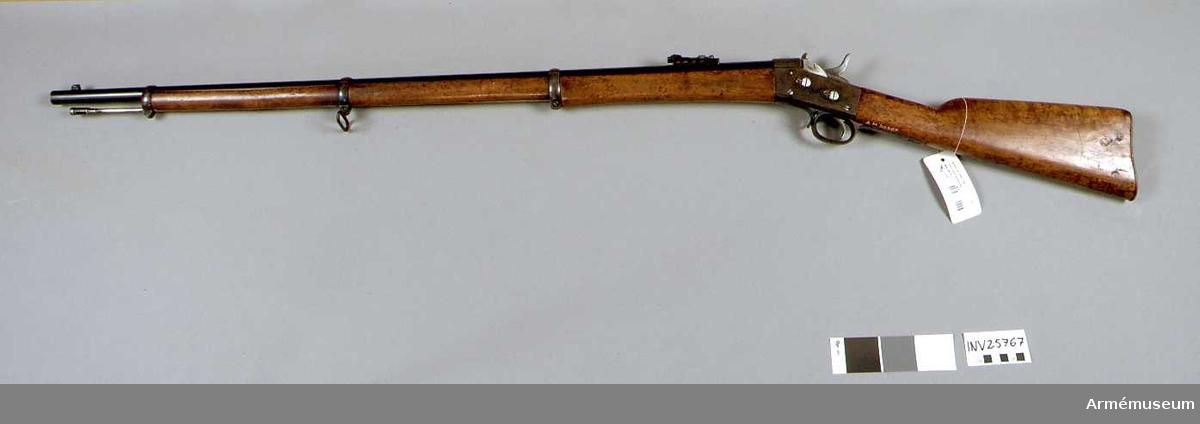 Grupp E II. 1867 års gevär m/1868. Ändrad till centralantändning och försett med tändstiftregulator. Bajonett saknas. Troligen tillverkad av kasserade delar som gevärsfaktoriets arbetare fick köpa. Märkt: Levin Hedlund Eskilstuna