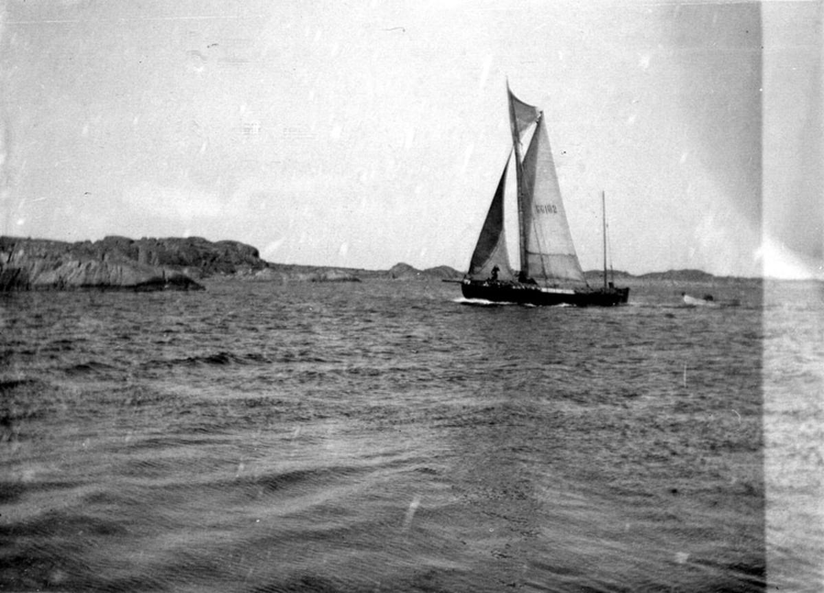 Skrivet på baksidan: GG 102 FÖRSTEN av Hönö Byggd på Karlsson & Lundbergs varv i Göteborg 1902. Med denna började Albin och August Sörensson att tråla 1906 på sommaren. Holbäcksmaskin 20 hkr. 1906 Luarresnipan på släp.