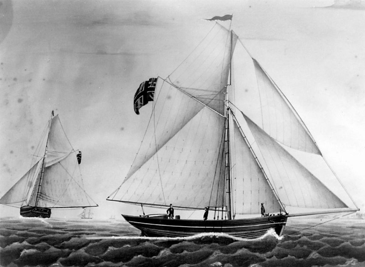 Skrivet på vidhängande papper: Slupen MAGNETEN af Svinöer, fört af captain H. C. Uldriksen. Tegnet af I. Klysner 21. Martz 1852. Foto efter akvarell i ( Bassesens samlinger )