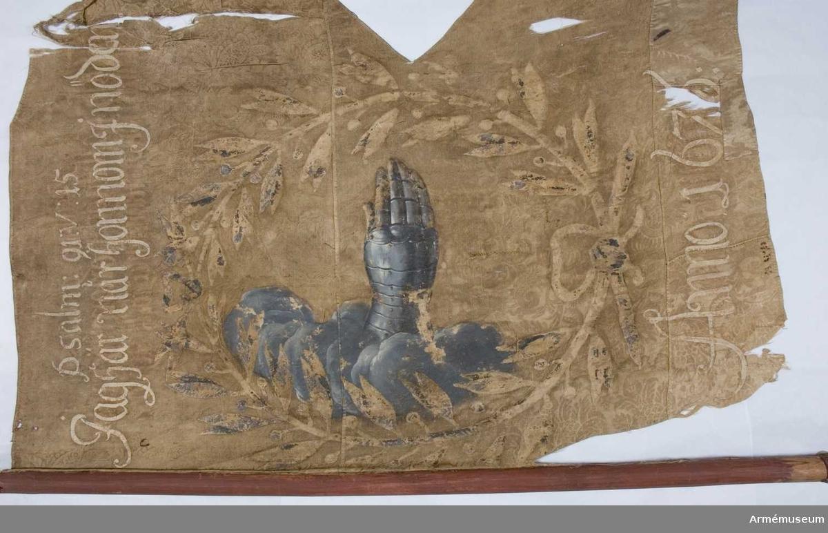 Duk: Tillverkad av enkel sidendamast. Sydd av tre horisontella våder. De två översta våderna av samma damast, medan nedre våden är åtskilligt skarvad och av en annan damast än de övriga två. Övre fliken trasig, sedan gammalt fållad.  Dekor:  Målad, omvänt lika på båda sidor, utom språkbandet som skiljer sig. Motivet är ett silvergrått moln med en pansarhandske, höger, utstickande från molnet. Allt omgivet av lagerkrans.  Både på dukens ut- och insida finns text.  Stång: Tillverkad av rödmålat och kannelerat trä. Spets och holk av järn. Lansettformad spets.