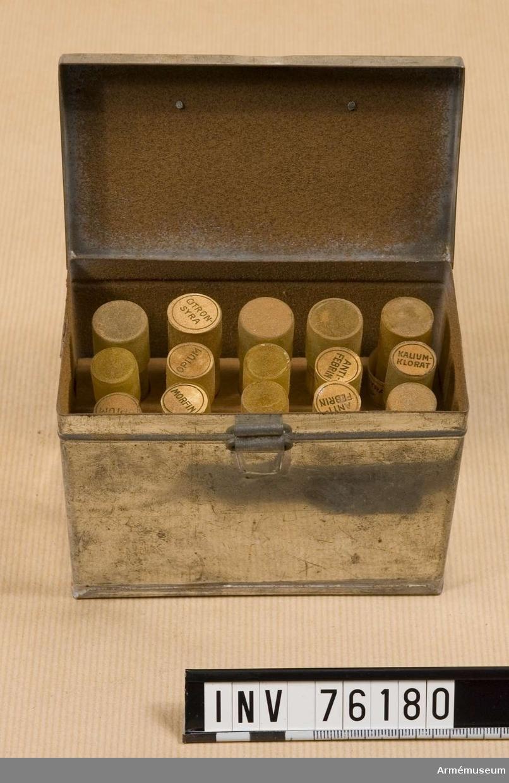 Grupp I II.  De tillhörande behållarna är avsedda för citronsyra, opium, kaliumklorat, antifebrin m.m. De är alla tommar.