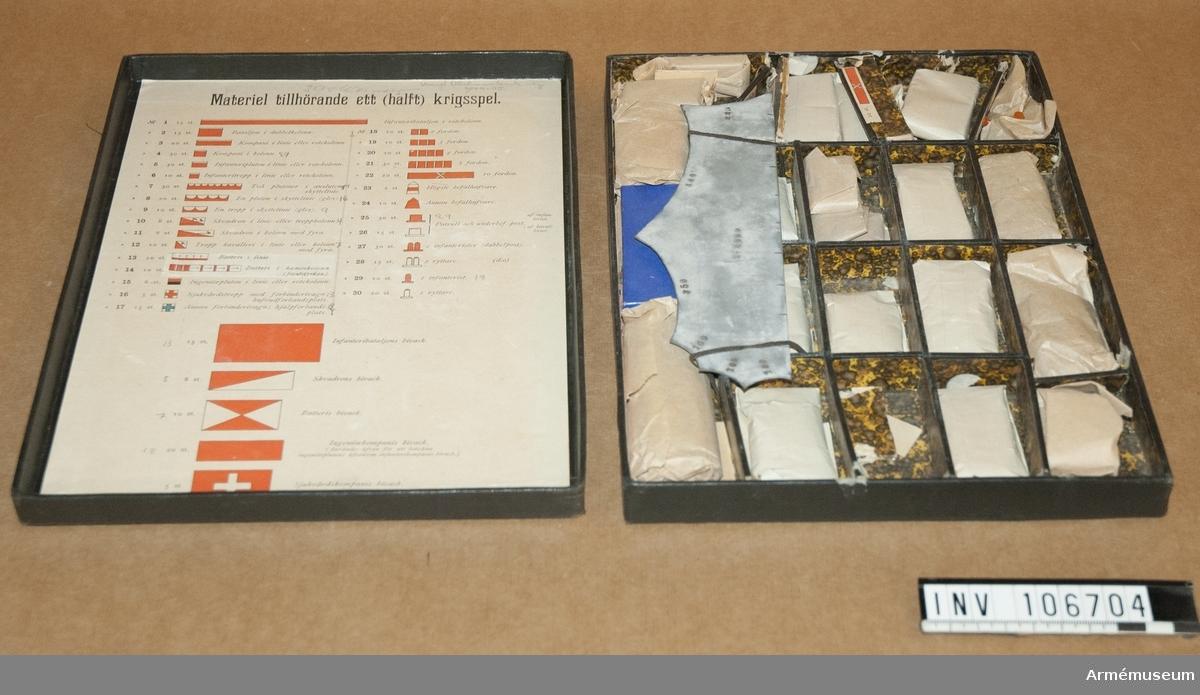Materiel tillhörande ett halvt krigsspel.