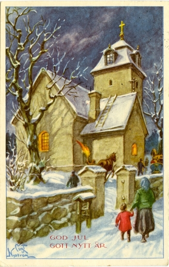 """Kort: """"God jul och Gott Nytt År"""". Kyrkobesökare på väg till julottan med häst och släde."""