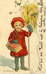 Julkort. Flicka med havrekärve, mistel och korg med äpplen.