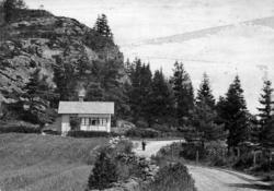 """Text till kortet: """"Cottage at Lyckorna""""."""