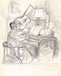 Pianospelande kvinna