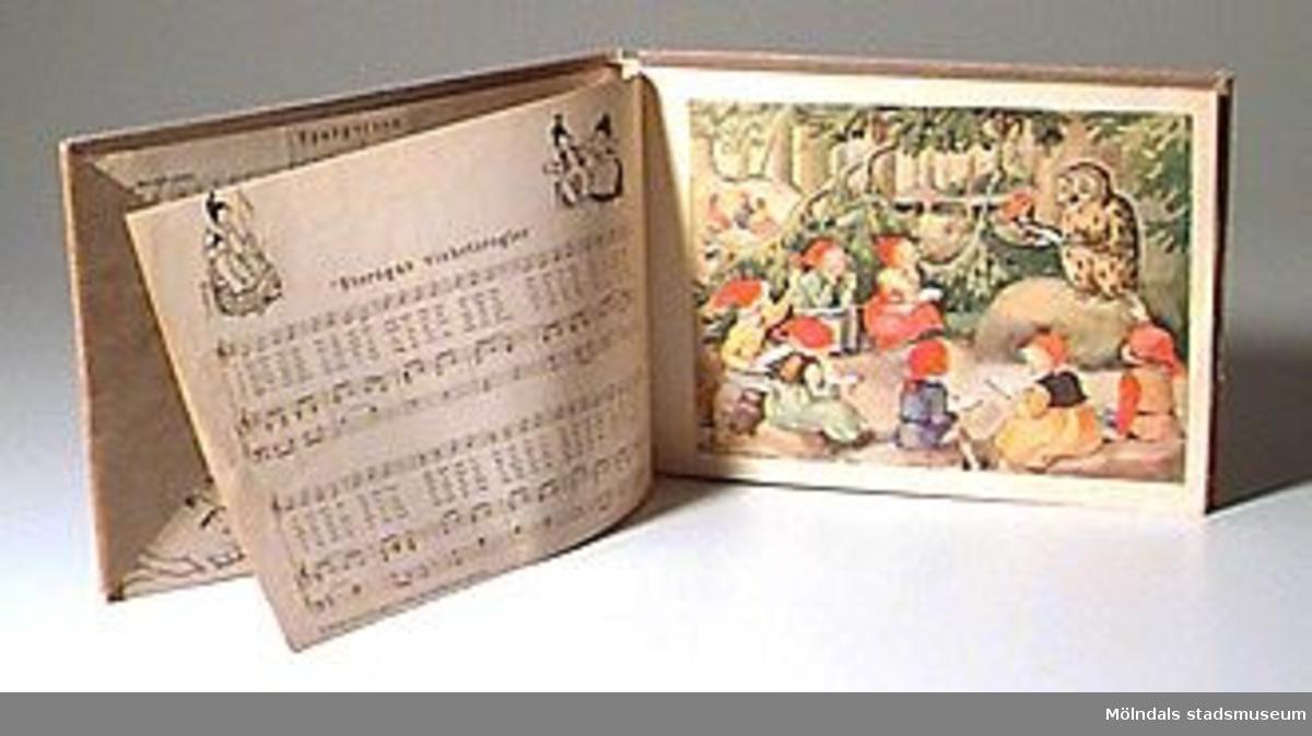 """""""Spargrisen och andra visor"""", ord och melodi av Margit Holmberg. Pianoarr.: Ulla D:son Laquist. Bilder av Maja Synnergren, Sthlm, 1941. Brunt omslagspapper med rest utav en etikett."""