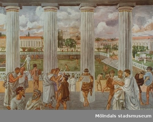 Historia: Platons akademi utanför Aten. Av Olle Hagdahl, 1948. Esselte AB, Stockholm.