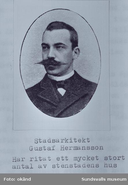 Stadsarkitekten Gustav Hemansson har ritat ett stort antal av stenstadens hus.