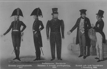 Uniformer 1817-1865. Uniformer 1817-1850. Vykort ur Postmusei samlingar.