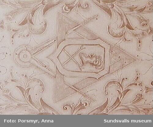 Detalj ur takmålning målad av Gustaf Walles, Hantverkshuset.