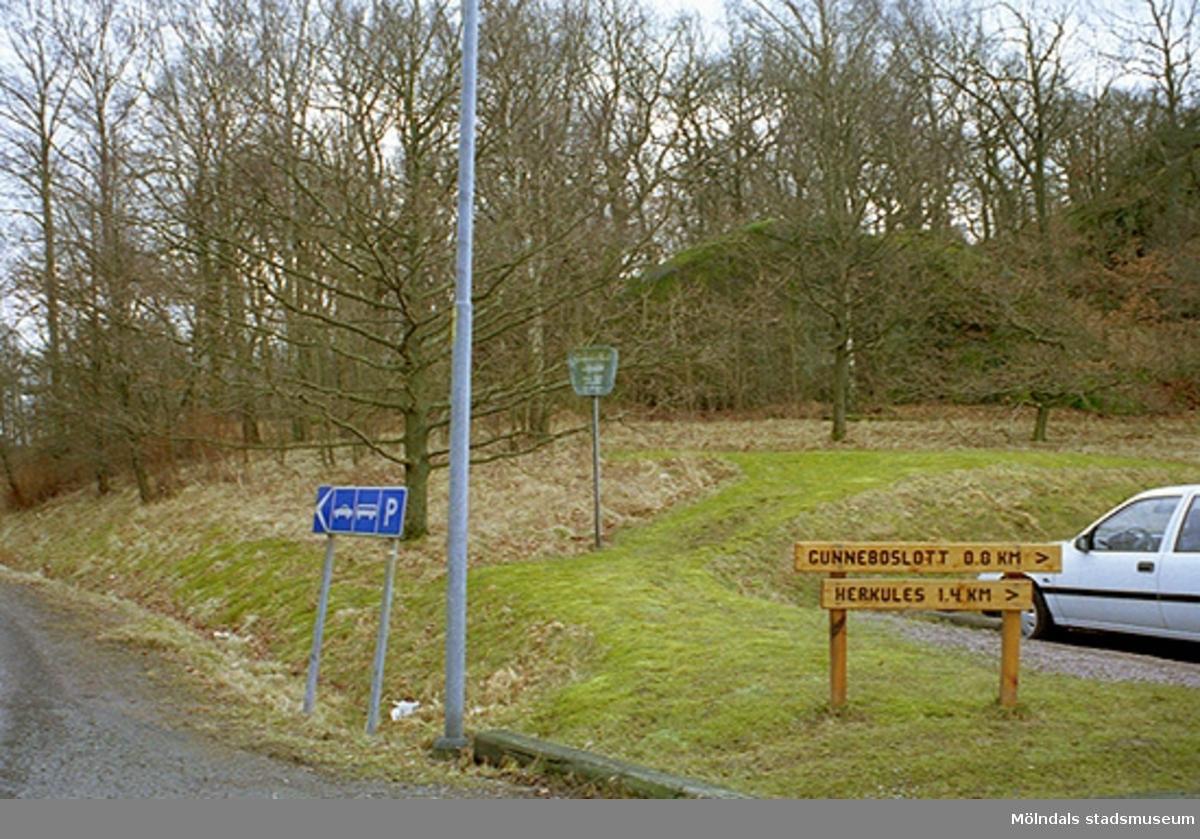 Sedda från Gunnebosidan, vid infarten till parkeringsplatsen, norr om John Halls väg, 1995-02-17.