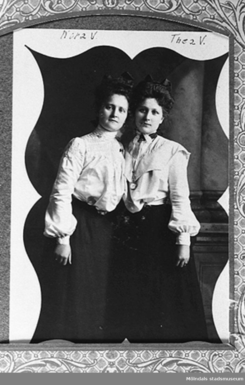 1900-talets början.Syskonen Nora och Theresia Westerberg i Chicago, USA.Nora är mormor till givaren Karin Hansson f Pettersson.