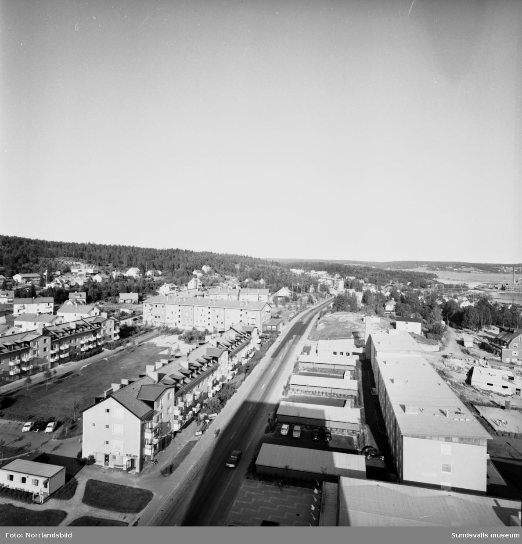 Vyer av Skönsberg fotograferat från höghuset. På en del av bilderna skymtar gamla E4, nuvarande Trafikgatan, mellan villabebyggelsen.