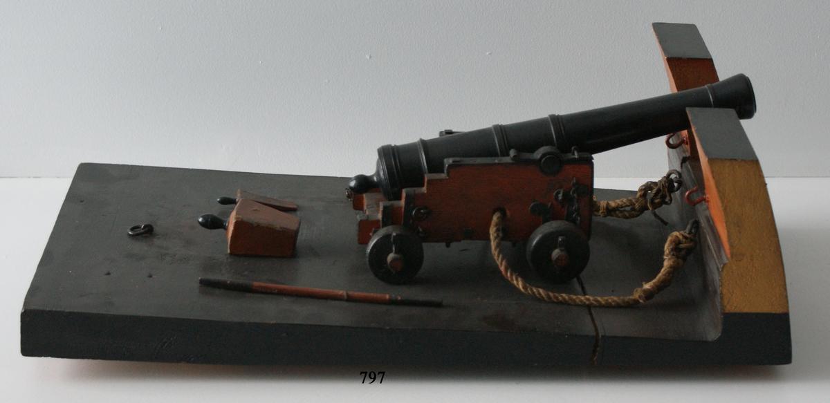 Kanonmodell: 18-pundig styckelåda, med kanon av Tornqvist modell 1757. Lavetten av trä med beslag av järn. Kanonen av trä. Lådan röd, kanon och beslag svartmålade. Tillbehör: 1 st brok, 2 st spaker, 1 st riktkil. Lavetten L = 512 mm B = 275 mm H = 170 mm.