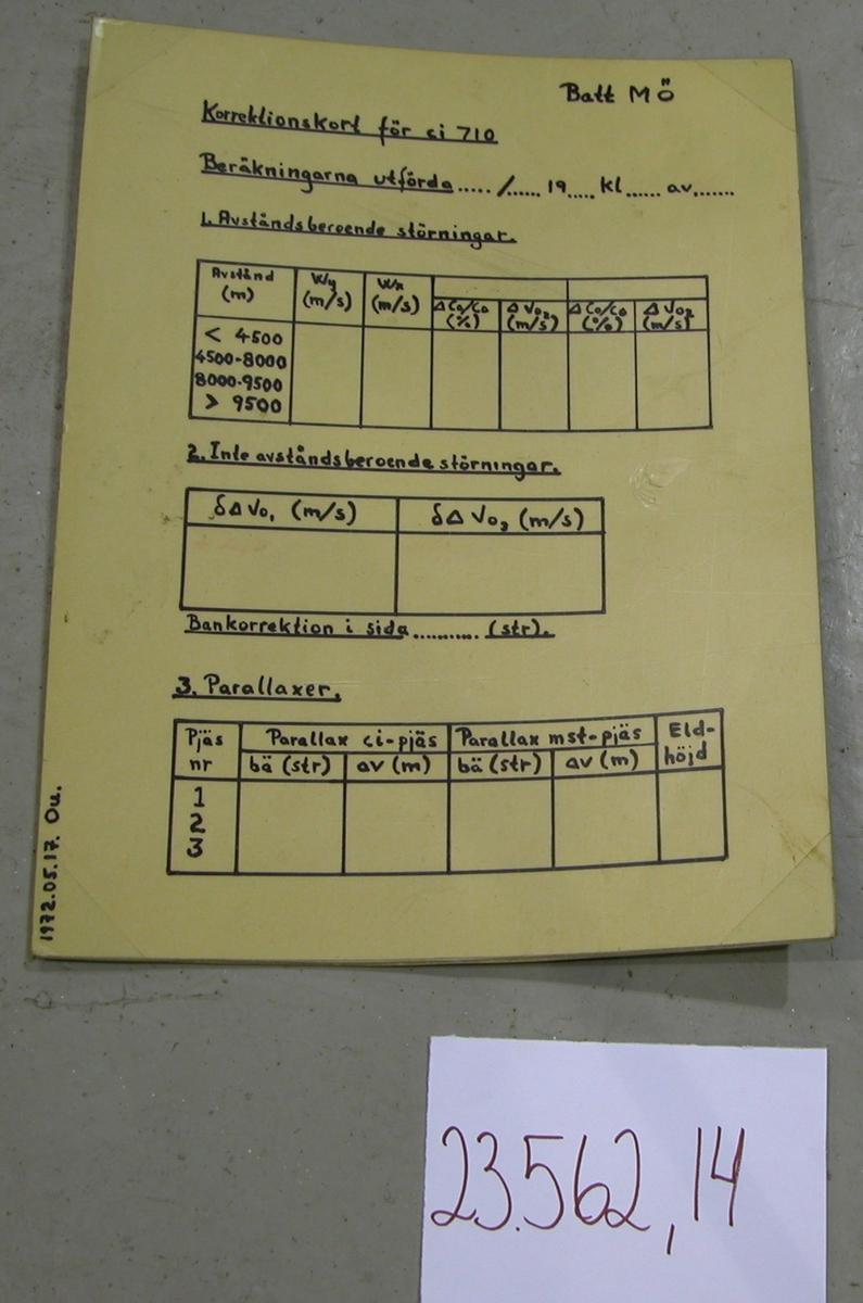 """Inplastad, ljusgul pappersskiva med handritad text med tuschpenna. Tavlan innehåller oifyllda tabeller som ska fyllas i efter mätningar som påverkar eldledningen. Tabellerna innehåller avståndsberoende störningar, inte avståndsberoende störningar, bamkorrektion i sidled, parallaxer och eldhöjd med mera. Längst ner till vänster står """"1972.05.17. Ou."""""""