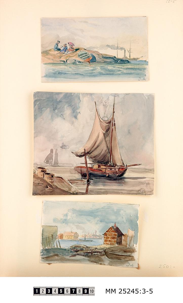 """Akvarell föreställande en uniformsklädd man som högläser ur en bok inför två klänningsklädda damer, den ena med parasoll. Personerna sitter på en berghäll på en ö och en eka ligger uppdragen på stranden. I bakgrunden syns en siluett av ett seglande ångfartyg. Bilden signerad i högre hörnet: """"JA""""."""