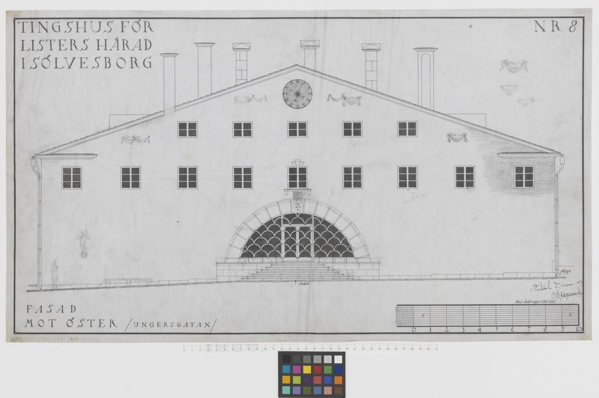 Fasad mot öster, Ungersgatan Listers härads tingshus