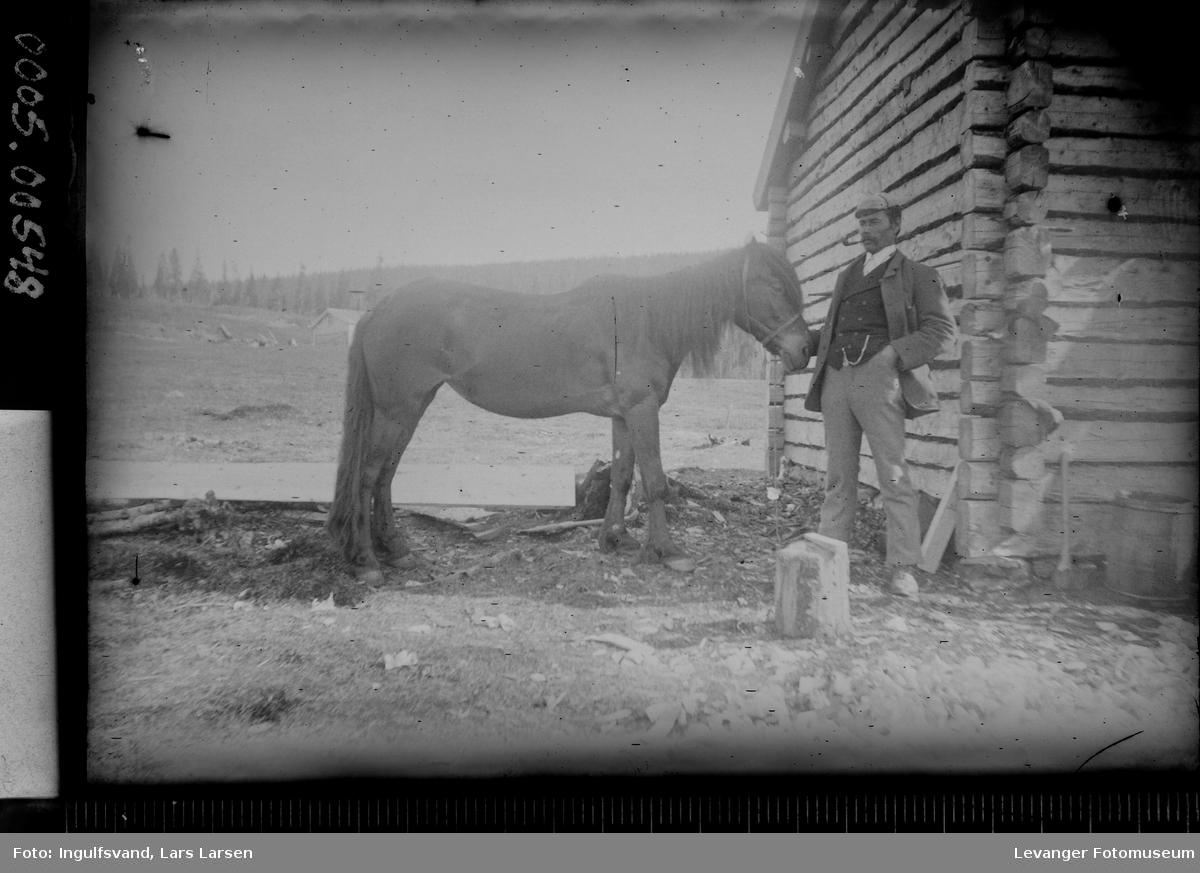 Portrett av mann som holder en hest foran en bygning.