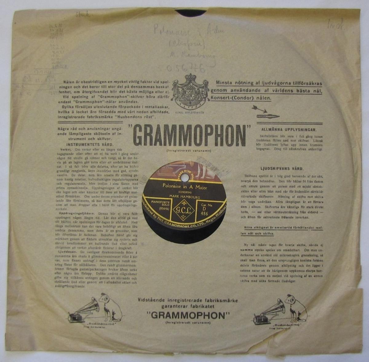 Grammofonskiva av märket HMV, spår på båda sidorna