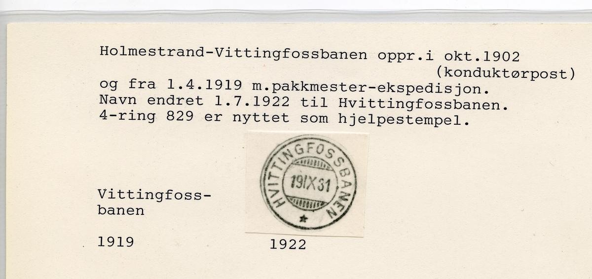 Stempelkatalog  Oslo, Reiseavdelingen, Oslo