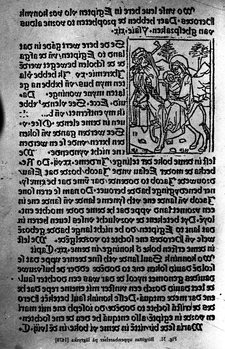 """""""Birgittas uppenbarelser"""" på lågtyska, (1478). Fotograf KJ Österberg."""